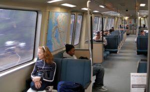 B.A.R.T. passengers riding the train
